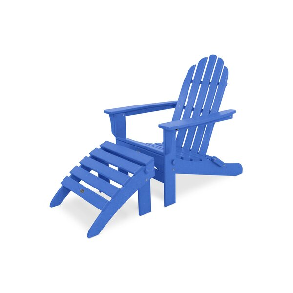 Cape Cod Plastic Folding Adirondack Chair with Ottoman by Trex Outdoor Trex Outdoor