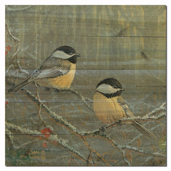 Winterbreeze Chickadees by Rosemary Millette Painting Print Plaque by WGI-GALLERY