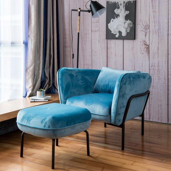 Cunegunda Fabric Armchair with Ottoman by Latitude Run