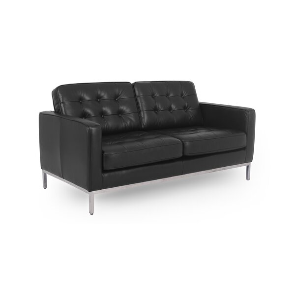 Popular Agostini Mid-Century Leather Loveseat by Corrigan Studio by Corrigan Studio