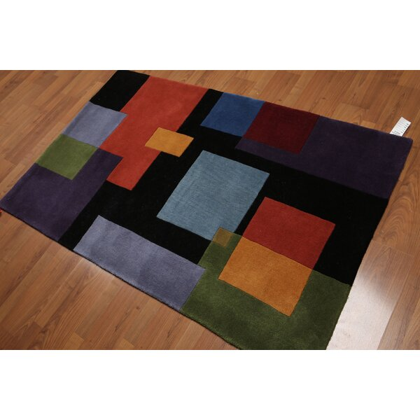 One-of-a-Kind Bharmal Hand-Knotted Wool Blue/Black Area Rug by Latitude Run