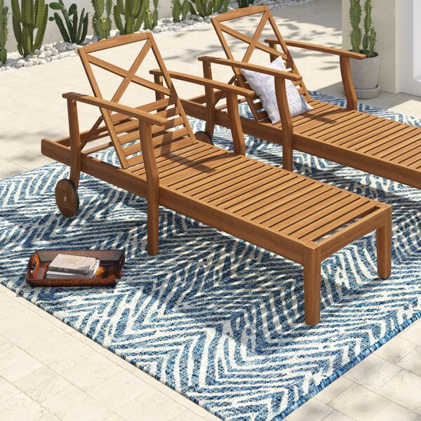 Antonia Acacia Wood Reclining Chaise Lounge (Set of 2) by Mistana