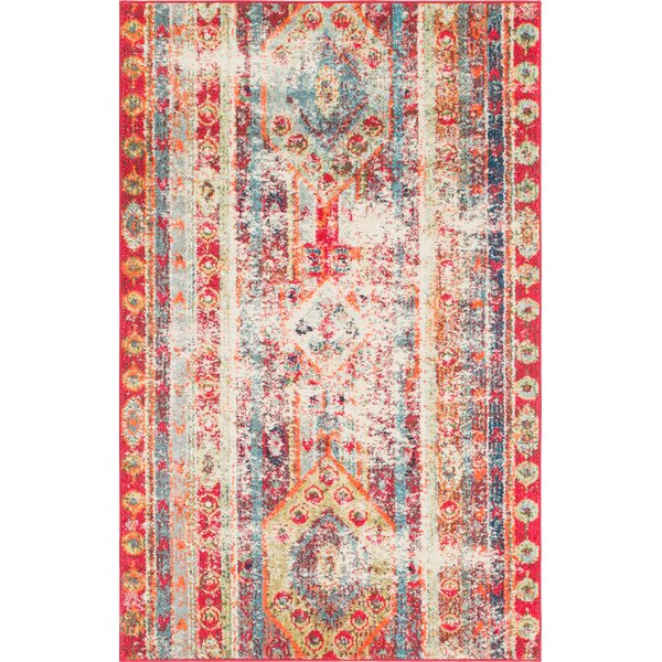Newburyport Cherry/Pink Area Rug by Mistana