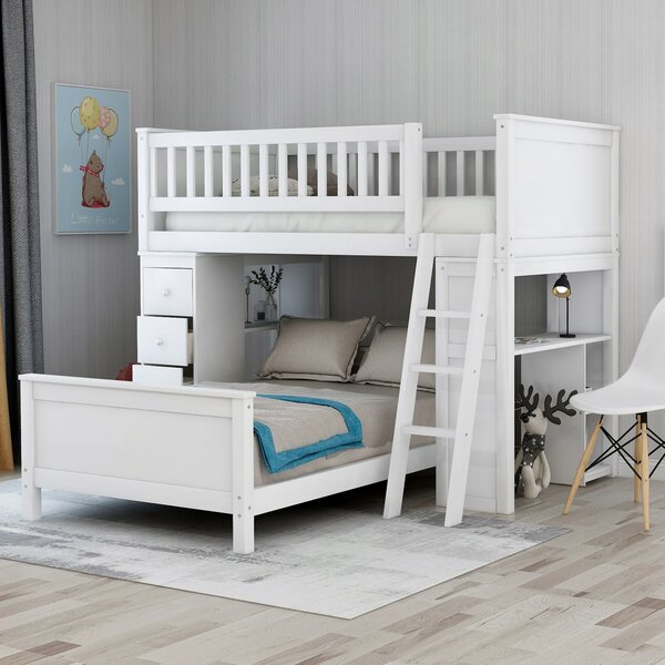 Finney Twin over Twin L-Shaped Bunk Bed with Drawers and Shelves by Trule Teen