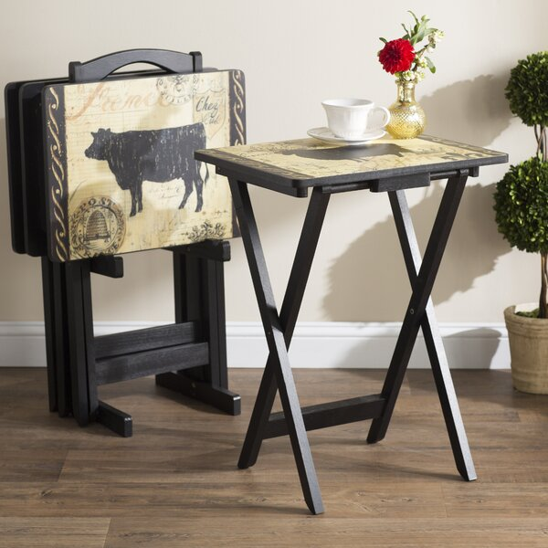 Berta Farmhouse 4 Piece TV Tray Set by August Grove