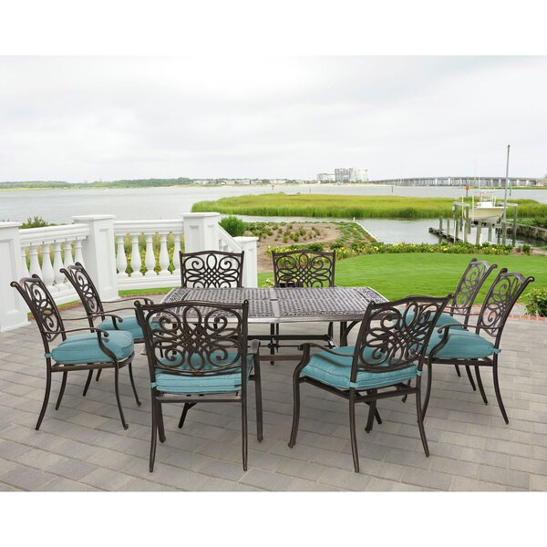 Lauritsen 9 Piece Metal and Aluminum Dining Set by Three Posts