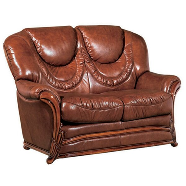 Deals Resendez Leather Loveseat