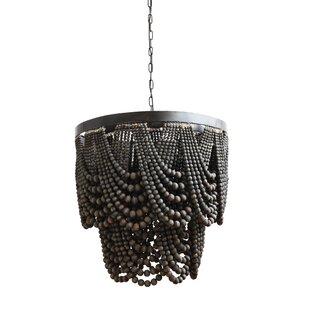 Black chandeliers youll love wayfair hatfield metalwood 3 light novelty chandelier aloadofball Image collections
