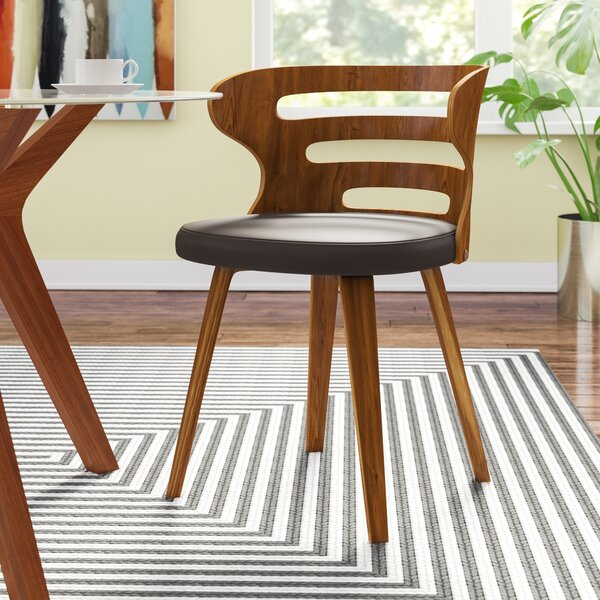 Baehr Mid-Century Modern Slat Back Upholstered Dining Chair by Wade Logan