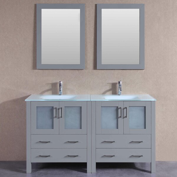 Victoria 59 Double Bathroom Vanity Set with Mirror by Bosconi