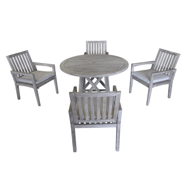 Jessica 5 Piece Teak Dining Set with Cushions by Gracie Oaks