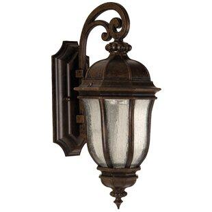 Online Reviews Oakhill Peruvian Bronze Glass 1-Light Outdoor Wall Lantern By Charlton Home
