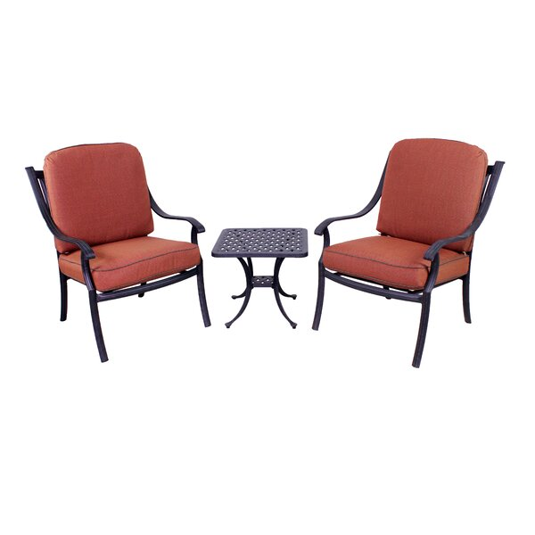 Sunderland 3 Piece Seating Group with Sunbrella Cushions by Fleur De Lis Living