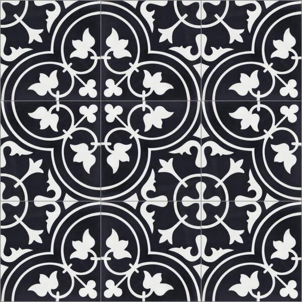 Tulips B Evening 8 x 8 Cement Field Tile in Black/White by Villa Lagoon Tile