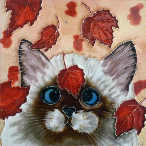 Cat with Falling Leaves Tile Wall Decor by Continental Art Center
