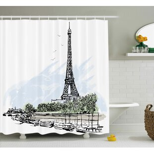 Best Reviews Brinley Paris Architecture Theme Illustration of Eiffel Tower Birds and Trees Pattern Shower Curtain ByOphelia & Co.