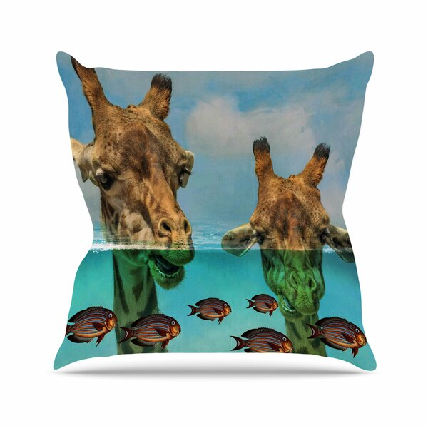 Suzanne Carter Larry & Fred Periscope Mixed Media Animals Outdoor Throw Pillow by East Urban Home