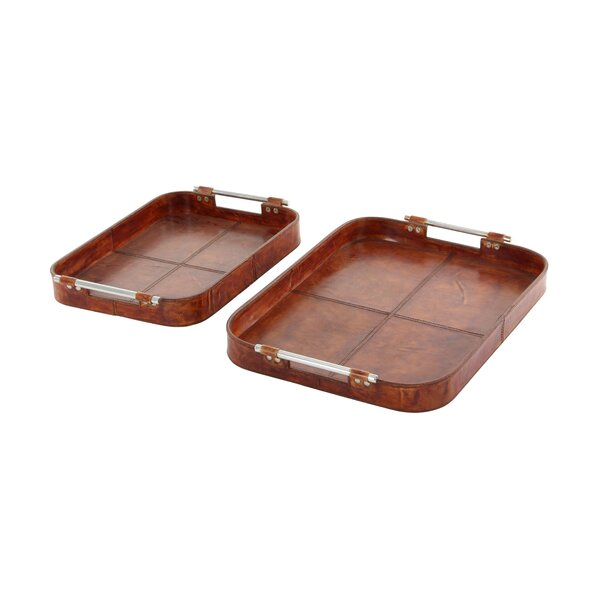 Real Leather 2 Piece Accent Tray Set by Cole & Grey