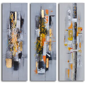 Amber Chaos Finding Form 3 Piece Painting on Wrapped Canvas Set