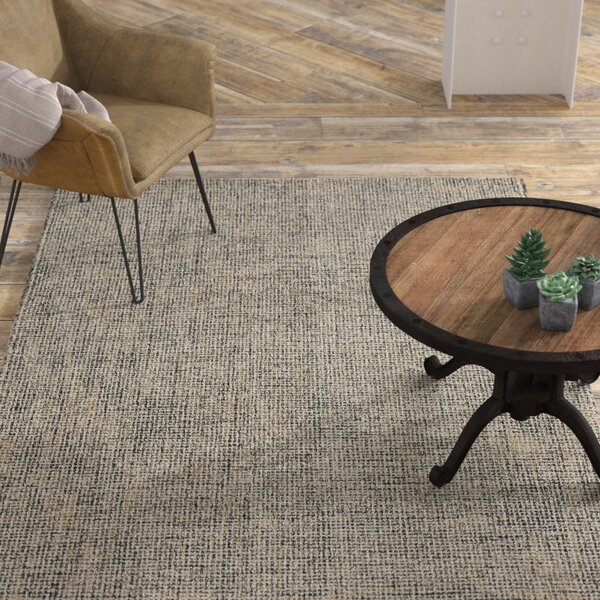 Mccurry Hand-Hooked Wool Charcoal/Beige Area Rug by Williston Forge