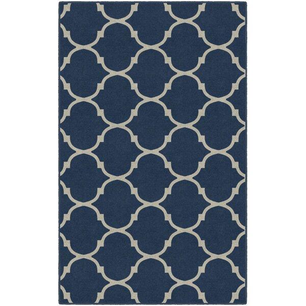 Hedley Moroccan Trellis Lattice Blue Area Rug by Winston Porter