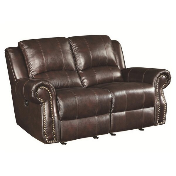 Algona Leather Reclining Loveseat by Canora Grey