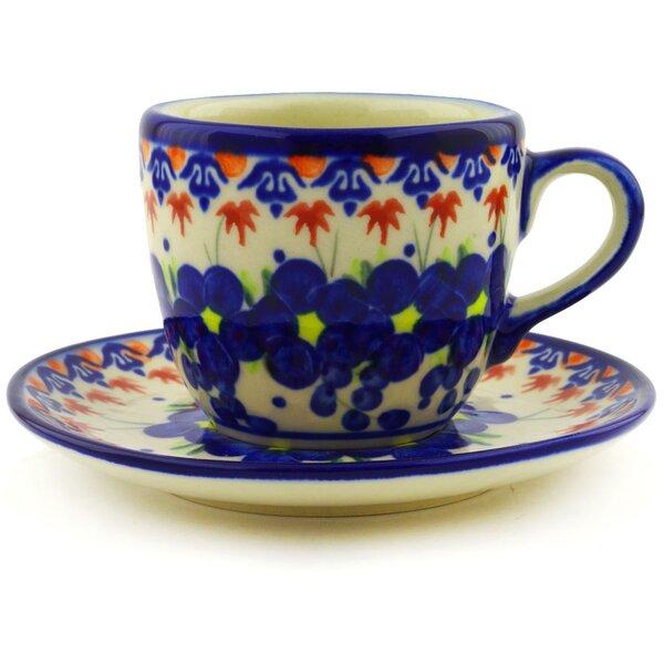 Polish Pottery Passion Poppy Coffee Mug with Saucer by Polmedia