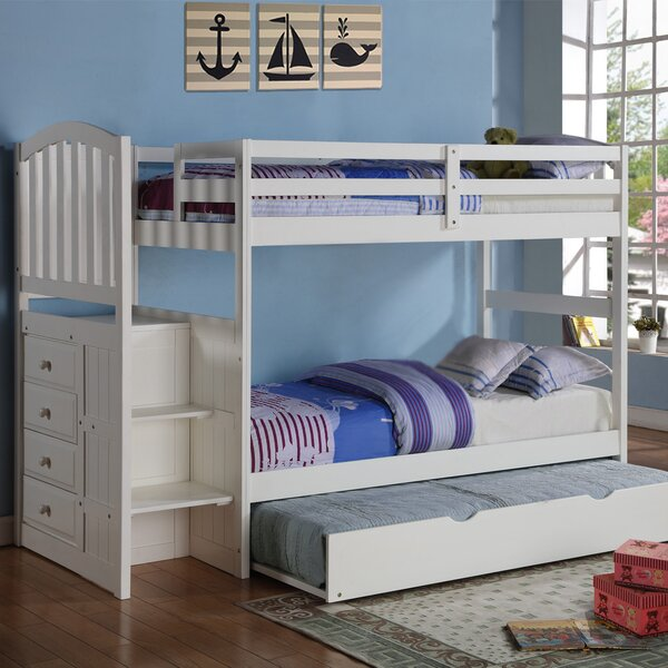 Samora Twin Over Twin Bunk Bed with Trundle and Drawers by Harriet Bee