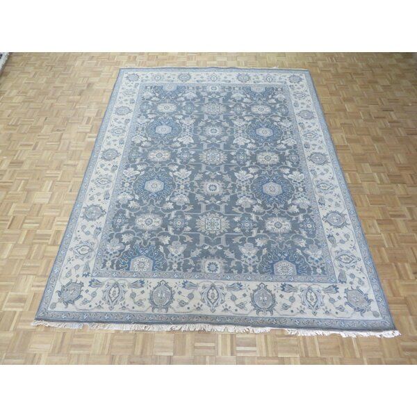 One-of-a-Kind Rhyne Antiqued Oushak Hand-Knotted Wool Gray Area Rug by Astoria Grand
