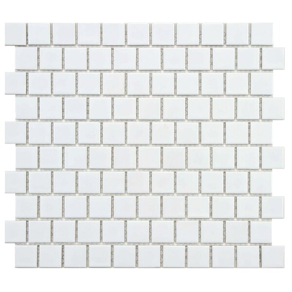 Retro Square Offset 1 x 1 Porcelain Mosaic Tile in Glossy White by EliteTile