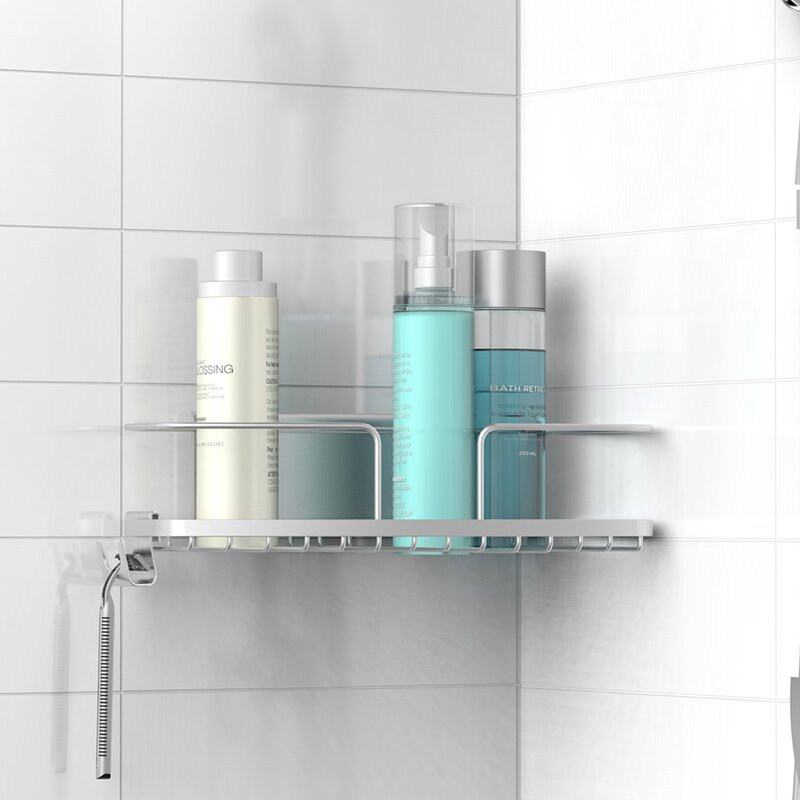 organizer suction tapcet rack steel space no stainless dp drilling shelf shower caddy saving corner