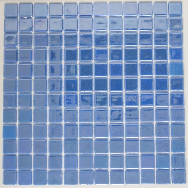 Signature Line 1 x 1 Glass Mosaic Tile in Glossy Blue by Susan Jablon