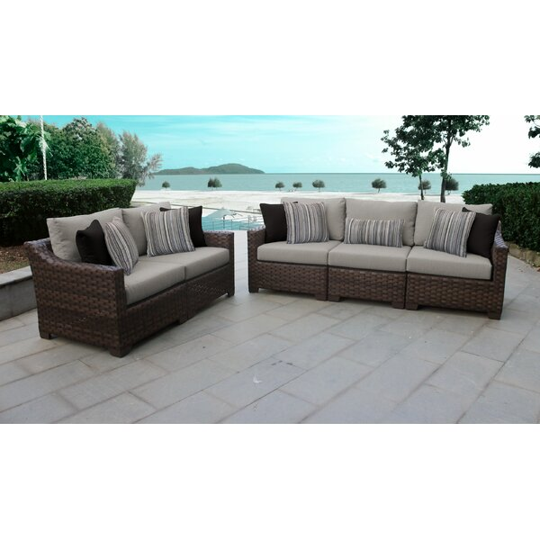 River Brook 5 Piece Rattan Sofa Seating Group with Cushions by kathy ireland Homes & Gardens by TK Classics