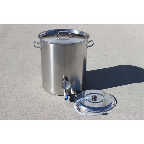 Stainless Steel 40 Qt. Home Mash Tun Brew Kettle with 2 Welded on Couplers by Concord Cookware