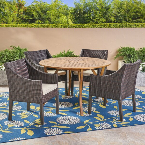 Grunewald 5 Piece Teak Dining Set with Cushions by Highland Dunes