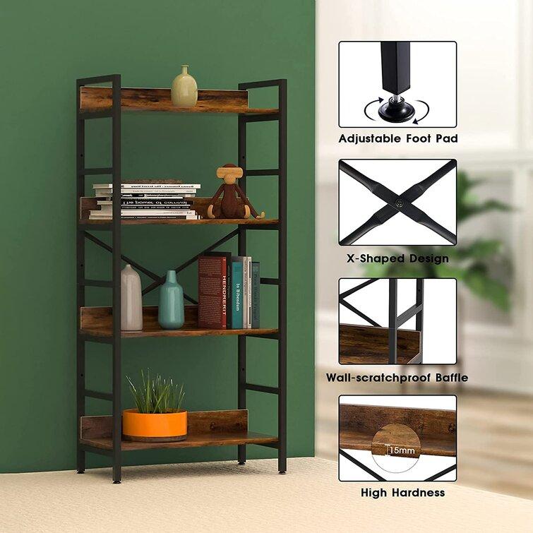 17 Stories Industrial Bookshelf,4 Tier Tall Bookcase,storage Rack