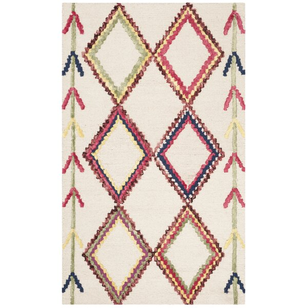 Juney Hand-Tufted Wool Ivory Area Rug by Bungalow Rose