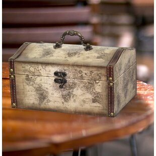 Decorative boxes youll love wayfair westbrooks old world map leather vintage style treasure box gumiabroncs Image collections