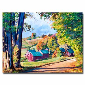 Road to Jenne Farm, Vermont  by David Lloyd Glover Framed Painting Print on Wrapped Canvas by Trademark Fine Art