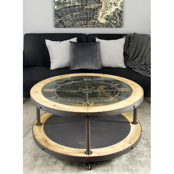 Metal and Wood Clock Coffee Table by Cole & Grey