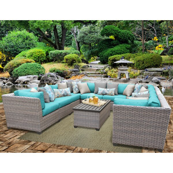 Meeks 11 Piece Sectional Seating Group with Cushions by Rosecliff Heights