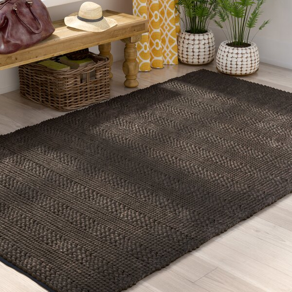 Jean Natural Fiber Hand-Woven Charcoal Area Rug by World Menagerie