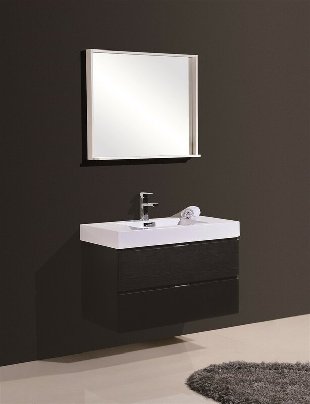 Wade Logan Tenafly Single Wall Mount Modern Bathroom Vanity Set - Wall mount vanities for bathrooms