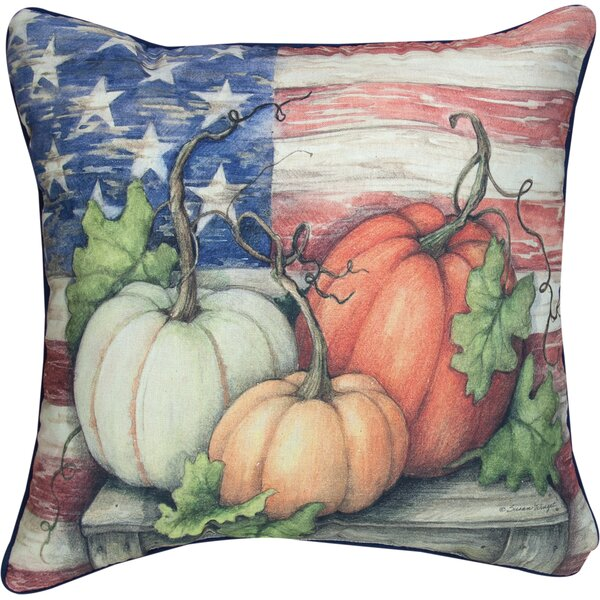 Pumpkins Farm to Table Patriotic Knife Edge Cotton Throw Pillow by Manual Woodworkers & Weavers