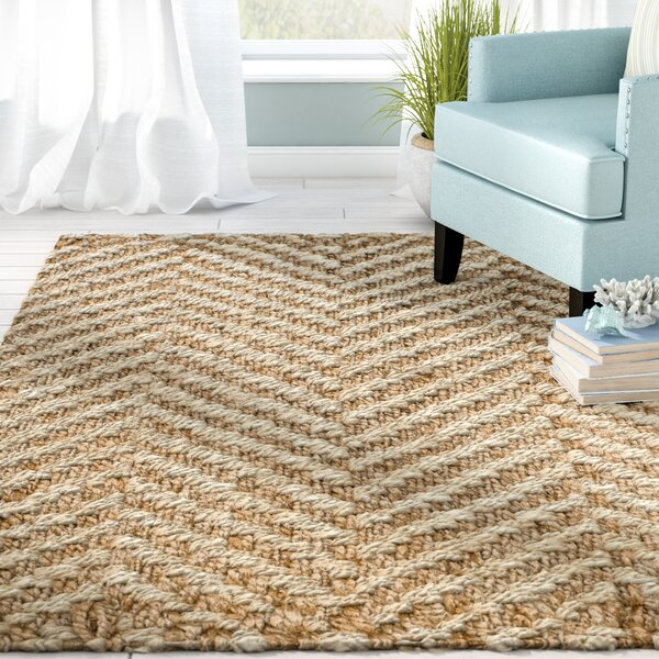 Ciel Fiber Hand-Woven Ivory/Natural Area Rug by Beachcrest Home