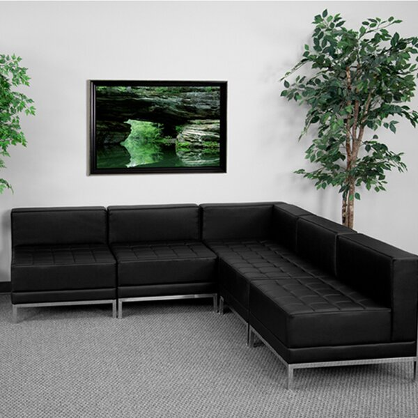 Mary Configuration Leather Sectional by Orren Ellis