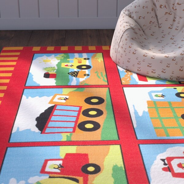Lenny Trucks and Trains Kids/Baby Room Red Area Rug by Zoomie Kids
