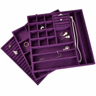 3 Piece Stackable Suede Jewelry Tray Set