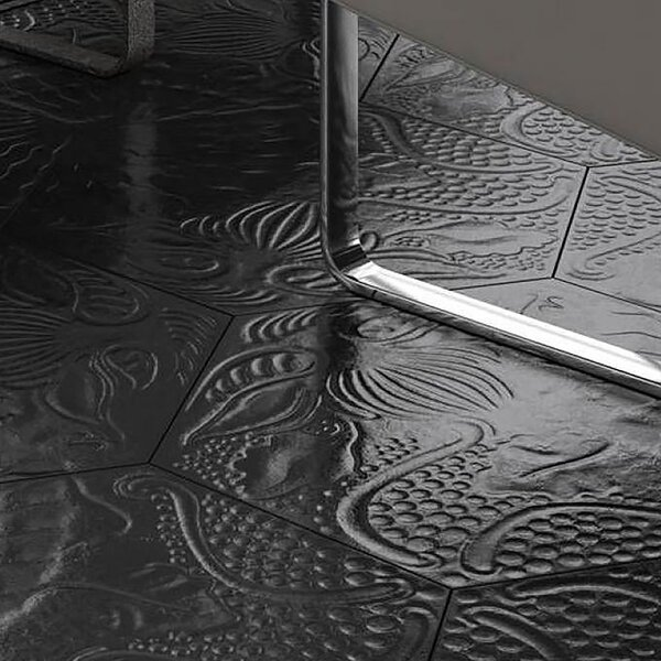 Soprano 8.62 x 9.87 Porcelain Field Tile in Black