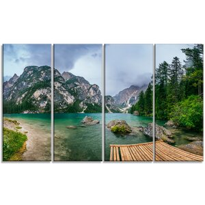 'Lake Between Mountains' 4 Piece Photographic Print on Wrapped Canvas Set by Design Art